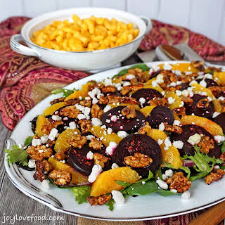 Roasted Beet Salad with Oranges, Goat Cheese and Candied Walnuts.