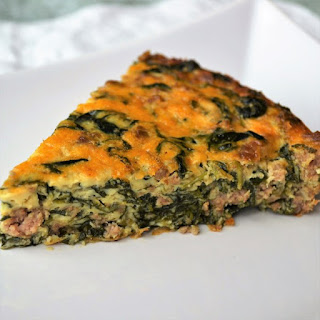 Crustless Quiche with Spinach and Turkey Sausage.