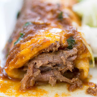 Smothered Shredded Beef Burritos.