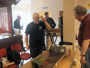 Photo: 011 7mm NGA Sales Officer Bob Cope had a day off from manning the secondhand sales stand in order to bring his own 0-16.5 layout that was built on a wooden shoe rack from The Range, Ashe Wharf .