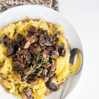 Spaghetti Squash with Roasted Mushroom and Garlic Sauce.