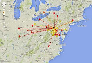 Photo: K8GP/R - FN10CA 50-432 MHz QSO map - ARRL June VHF 2014 - Brn=50 Red=144 Org=222 Yel=432