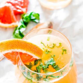 Red Grapefruit and Basil Mimosas
