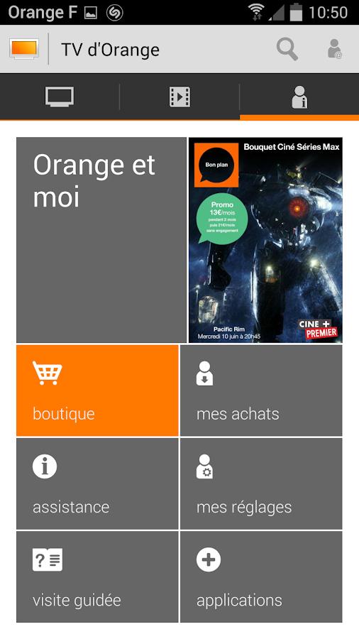 Tv d 39 orange live replay vod applications android sur - Application telecommande orange ...