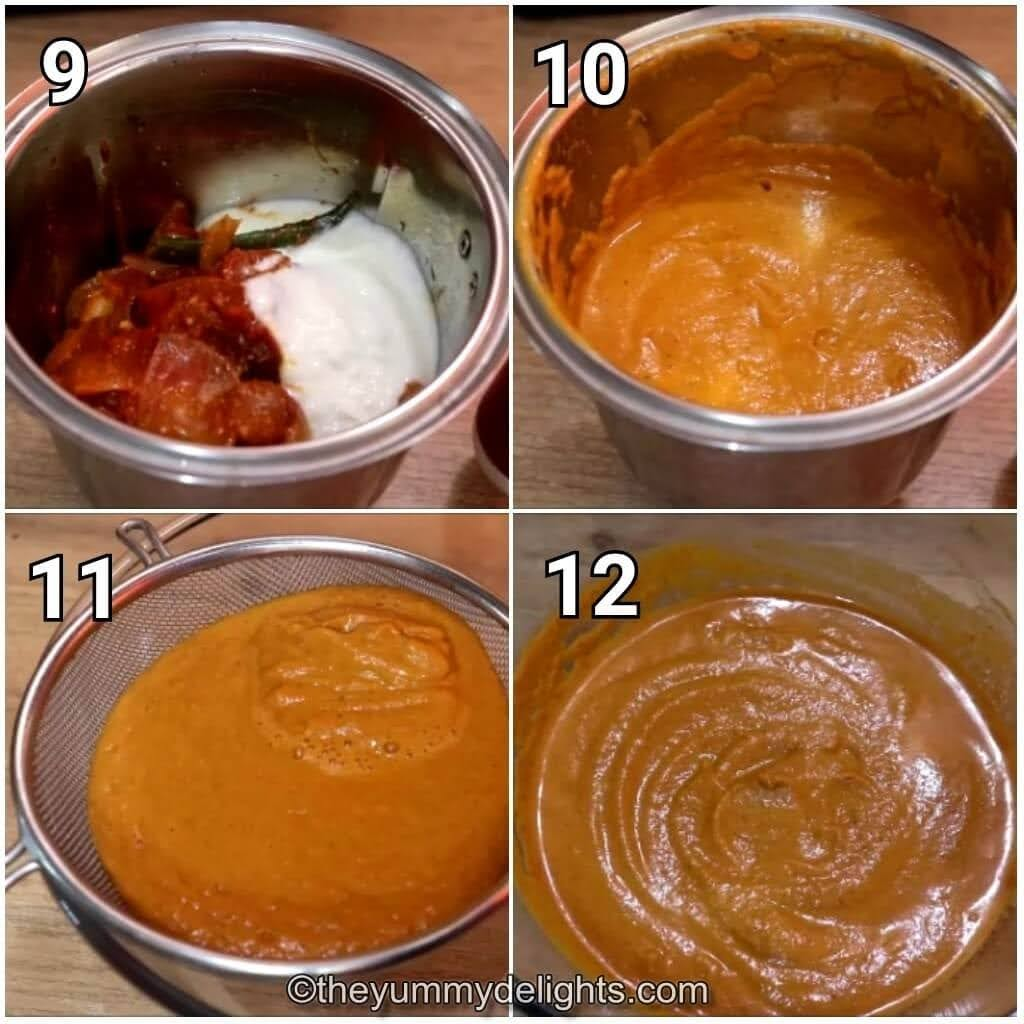 step by step image collage of grinding the onion-tomato mixture to make Shahi paneer gravy base.