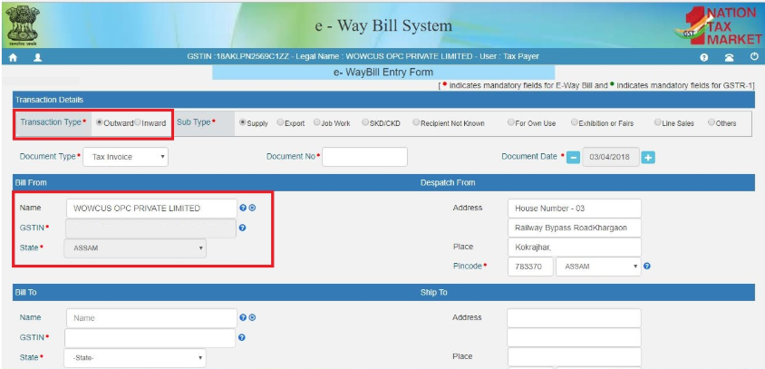 Online filing of eWay Bill