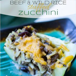 Beef & Wild Rice Stuffed Zucchini