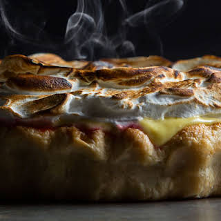 Lemon Verbena and Raspberry Meringue Pie.