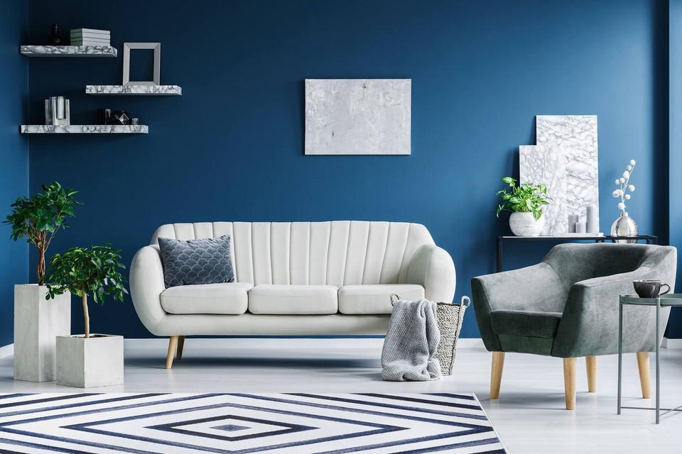Skandynawski dywan w niebieskie i kremowe romby Native Blue