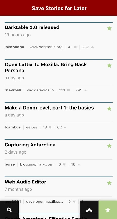 HNZ — A Hacker News Reader- screenshot