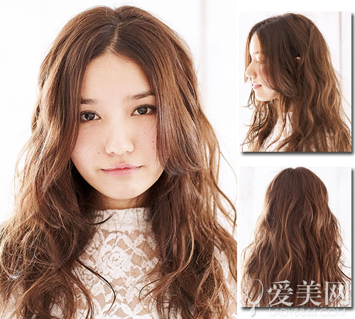 The most popular sweet hairstyle large open straight hair perm pure retro