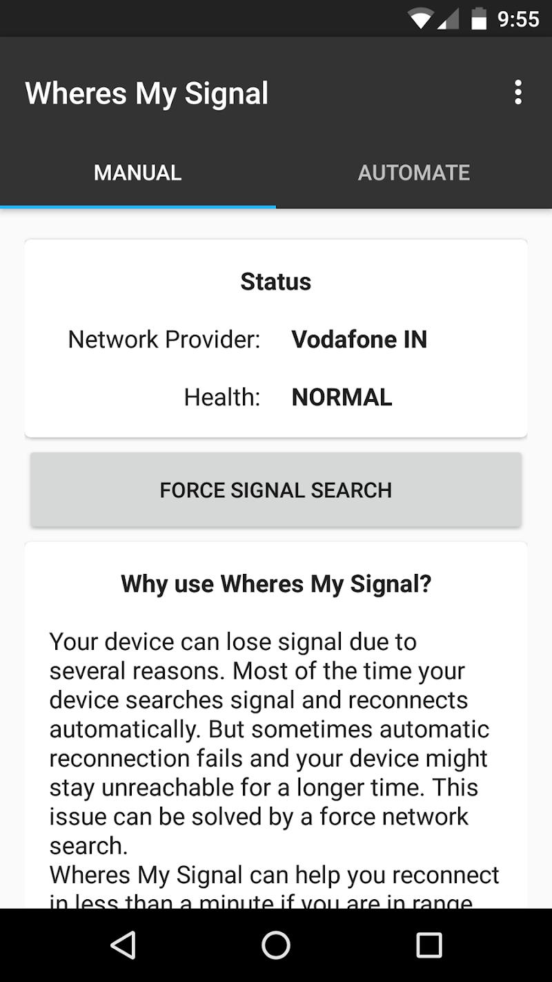 Wheres my Signal: Signal Refresher Screenshot