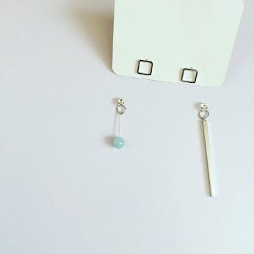 Handmade正方形海藍寶珠耳環