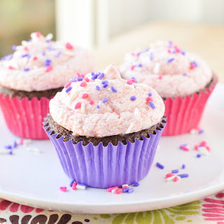 Chocolate Buttermilk Cupcakes with Strawberry Buttercream