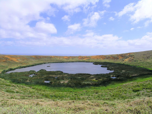 A crater on Easter Island. Yes, a number of specialty, adventure and luxury cruise ships call on Easter Island.