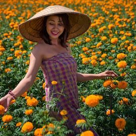 Flowers by Indrawaty Arifin - People Portraits of Women ( flowers, girl )