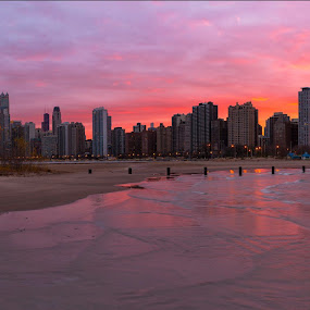 Hurricane Sandy Halloween Chicago Sunset... by Jamie Link - City,  Street & Park  Skylines ( chicago skyline, hurricane sandy sunset, jamie link photography, amazing sunset, lakes, hurricane sandy chicago sunset, lake, landscape, chicago sunset panoramic, photo, north avenue beach, sun, chicago cityscape, chicago skyline panoramic photography, picture, michigan, navy pier, chicago commercial photographers, great, jamie link, commercial outdoor photographer )