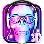 3D DJ Skull & Rock Music Theme Icon