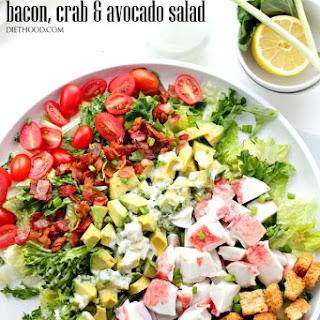 Bacon, Crab and Avocado Salad with Green Onion Yogurt Salad Dressing.