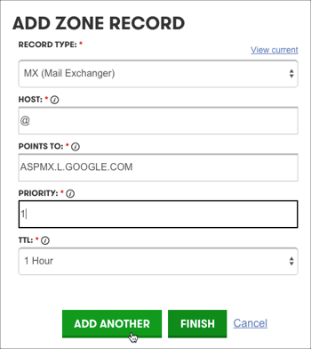 Add MX Record form