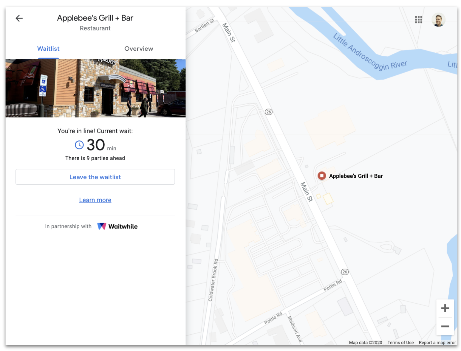 Google Maps screenshot of Applebee's Grill + Bar with Waitwhile waitlist current wait