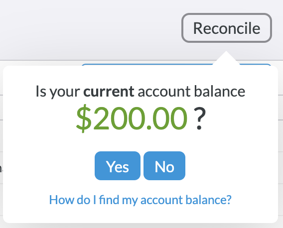 YNAB asking you to confirm your current account balance after clicking the reconcile button