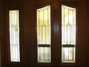 Photo: Bella Vista Front Door replaced yellow/Amber glass with clear textured stained glass, leaded glass. Privacy, traditional, beautiful, custom, handmade.