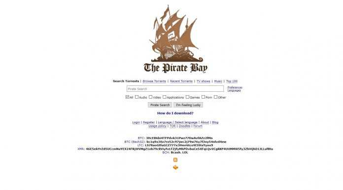 ThePirateBay website