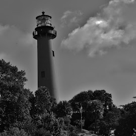 Black & White Lighthouse  by Matthew Beziat - Black & White Buildings & Architecture ( sunshine state, black & white photography, jupiter lighthouse, lighthouses, jupiter inlet lighthouse, black & white, jupiter florida, southern florida, jupiter, florida lighthouses, palm beach county, south florida,  )