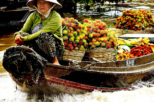 Moving Market by Chris Olivar - Food & Drink Fruits & Vegetables ( mekong river, pwcfruit-dq, floating market, rambutan, transportation )