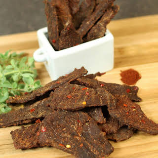 Homemade Chipotle Lime Beef Jerky.