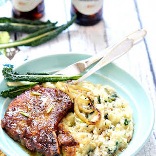 Guinness Pork Chops with Onion Brown Gravy.