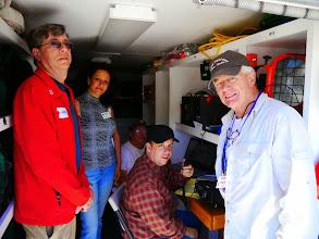 Photo: Bruce (KI6CYT), Cass (AG6NT), Madeleine Biskintaoui (AF6NL) and Richard Fatemanin the MDU.