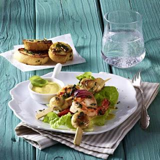 Shrimp and Mushroom Skewers with Aioli