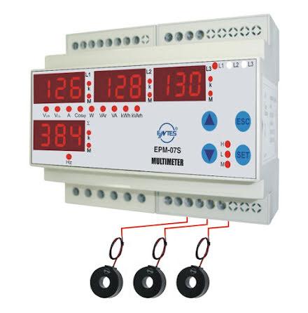 Energimätare, pulsutg. kwh, w, cos fi, reaktiv effekt