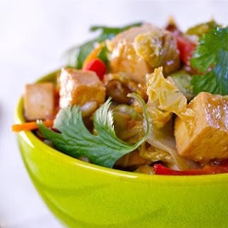 Cabbage Saute with Shiitakes and Crispy Tofu