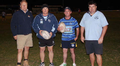 Narrabri Blue Boars second grade assistants Colin Parkes and Chris Fowler, captain Adam Hatton and player-coach Craig Summers at training on Tuesday night.