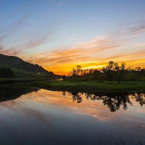 Sunset reflects in pond by Benny Høynes - Landscapes Sunsets & Sunrises ( sigma, waterscape, sunset, nightscape, landscape, night photography, canon )