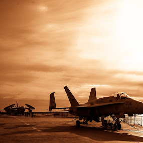 Buckled Down by Damon Hensley - Transportation Airplanes ( aircraft carrier, sunset, fighter jet )