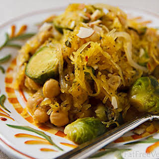 Spaghetti Squash with Roasted Brussels Sprouts and Chickpeas.