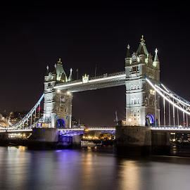 Tower Bridge by James Charlton - City,  Street & Park  Night ( london, night, thames, bridge, tower )