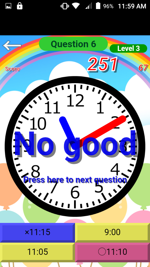Clock reading drill- screenshot