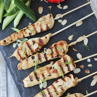 Gluten Free Chicken Satay with Thai Almond Sauce | Grilled Summer Appetizers.