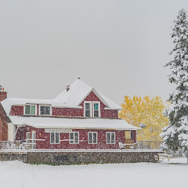 Silver Mountain Station by David Johnson - Buildings & Architecture Homes ( fall colors, canada, snow, red house, winter )
