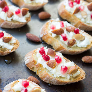 Smokehouse Almond, Goat Cheese, and Pomegranate Toasts.