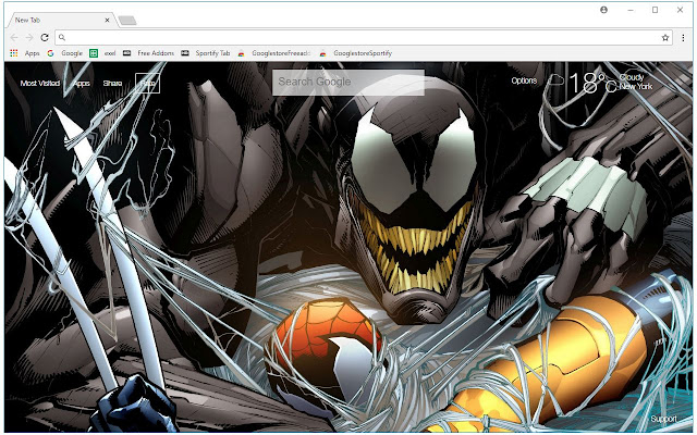 Venom HD Wallpaper New Tab Themes