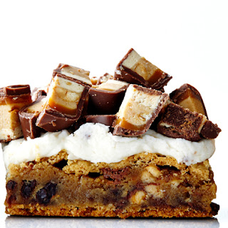 Frosted Snickers Blondies Recipe.