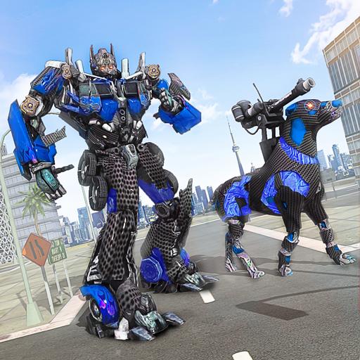 Futuristic Police Dog Robot War