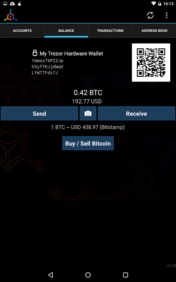 Mycelium Bitcoin Wallet: captura de pantalla