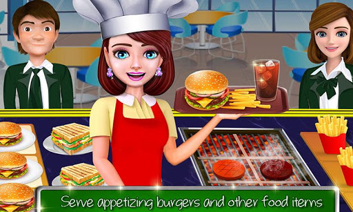 High School Cafu00e9 Girl: Burger Serving Cooking Game 1.1 screenshots 5